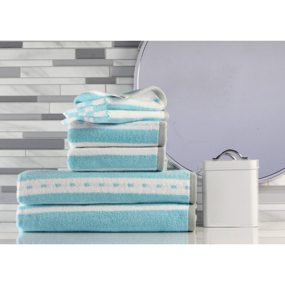 Image of 6pk Stripe Bath Towel Aqua - Freshee