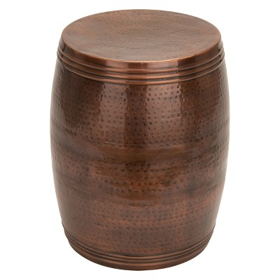 Metal Drum Accent Table Bronze - Olivia & May