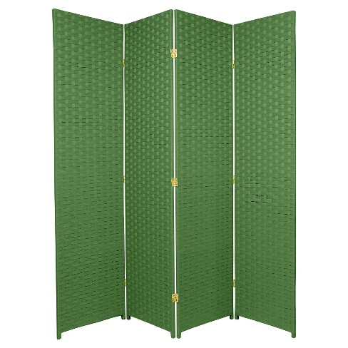 6 ft. Tall Woven Fiber Room Divider - Light Green (4 Panels) - image 1 of 1