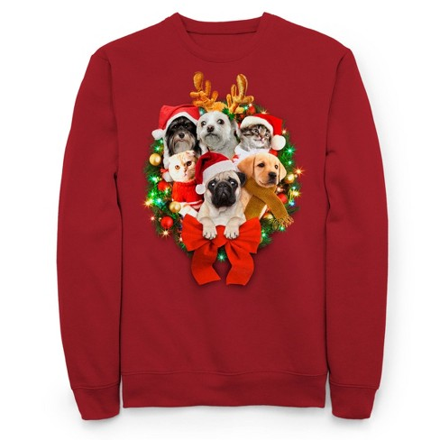 Men's Light Up Critters Holiday Fleece Sweater - Red - image 1 of 1