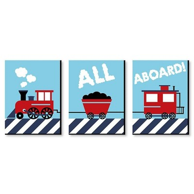 Big Dot of Happiness Railroad Crossing - Steam Train Baby Boy Nursery Wall Art and Kids Room Decor - Gift Ideas - 7.5 x 10 inches - Set of 3 Prints