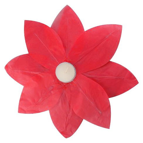 6ct Floating Lotus Paper Lantern Red - image 1 of 3