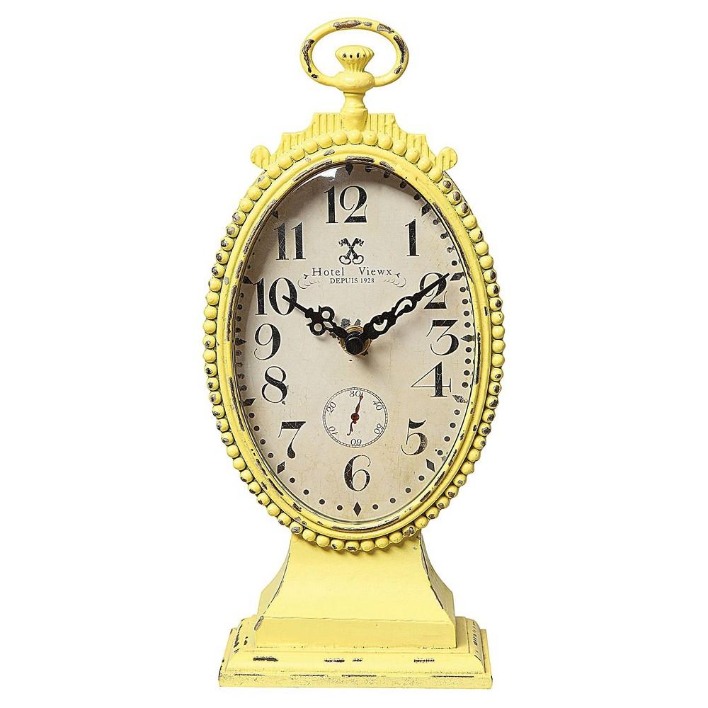 Oval Metal Mantle Clock Yellow - 3R Studios