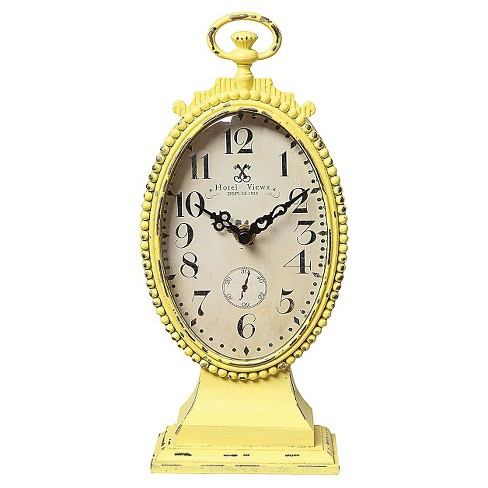 Oval Metal Mantle Clock Yellow - 3R Studios® - image 1 of 1