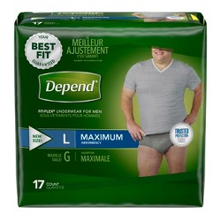 Depend Men's Fit-Flex Convenience Incontinence Underwear - Large