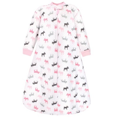 Hudson Baby Infant Girl Premium Quilted Long Sleeve Sleeping Bag and Wearable Blanket, Pink Moose