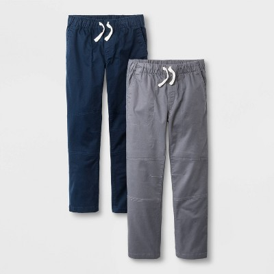 Boys' 2pk Stretch Straight Fit Pull-On Woven Pants - Cat & Jack™ Blue/Gray