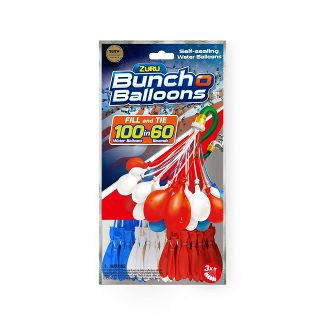 Zuru Bunch O Balloons 100 Rapid-Filling Self-Sealing Water Balloons - Red/White/Blue