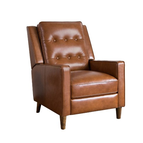Calvin Mid Century Top Grain Leather Pushback Recliner Camel - Abbyson Living - image 1 of 4