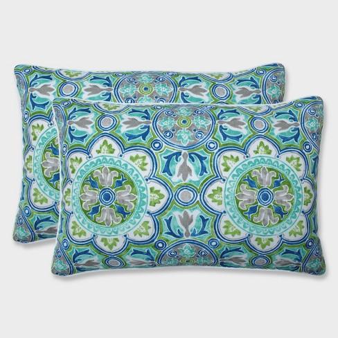 2pk Oversize Rectangular Lagoa Tile Pool Throw Pillows Blue - Pillow Perfect - image 1 of 1