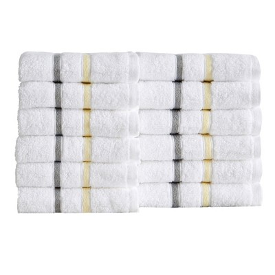 Great Bay Home 100% Cotton Woven Striped Bath Towel Sets