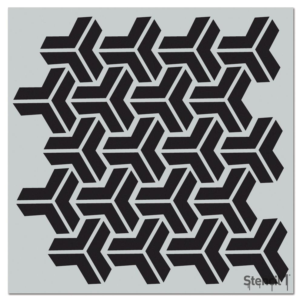 Stencil1 Y Interlocking Repeating - Wall Stencil 11