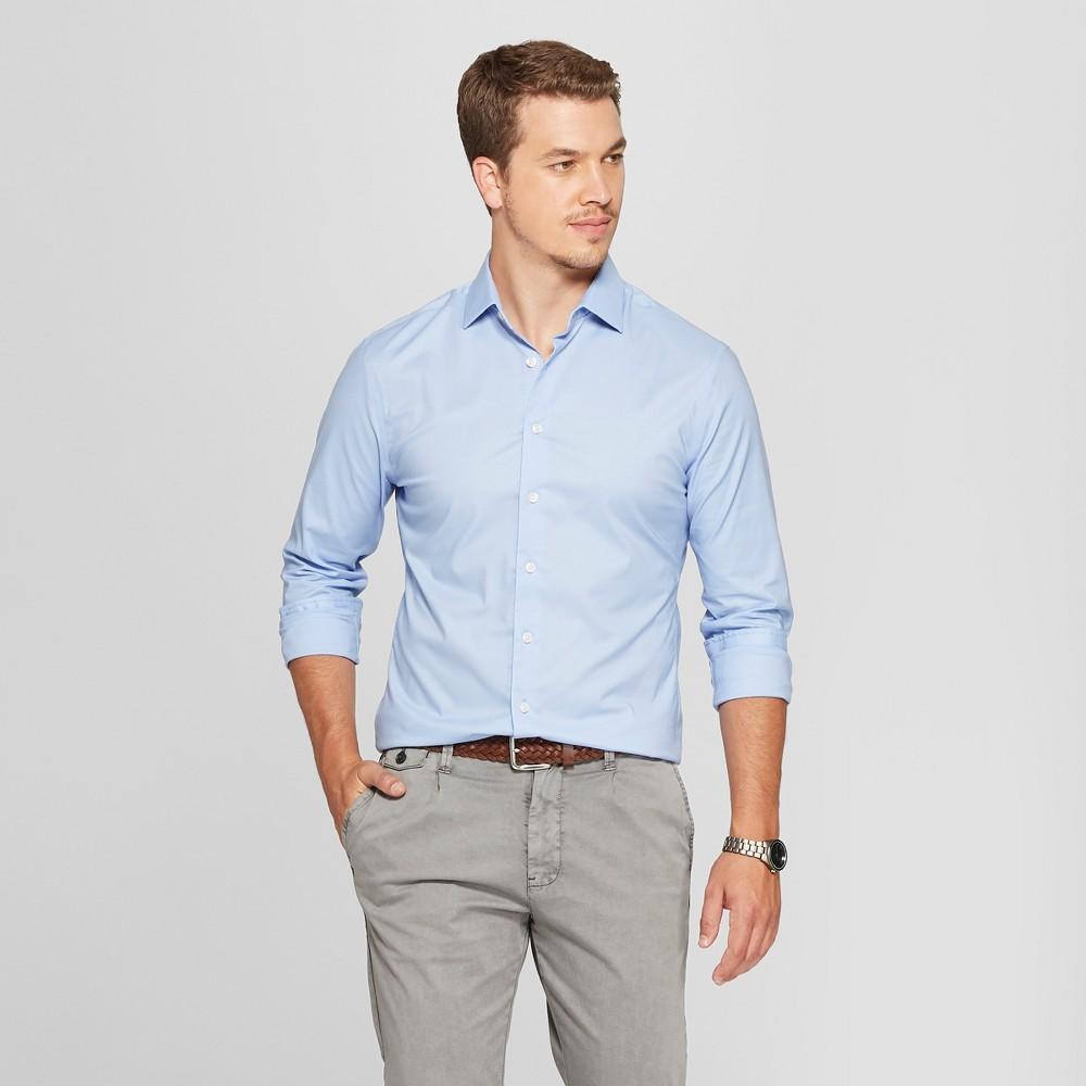 Men's Slim Fit Long Sleeve Button-Down Shirt - Goodfellow & Co Light Blue XL