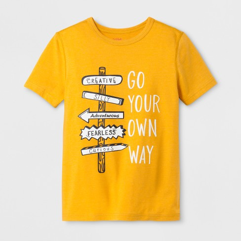 2bed73b64 Boys' Adaptive Short Sleeve Go Your Own Way Graphic T-Shirt - Cat & Jack™  Mustard Yellow