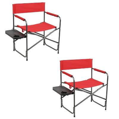 Portal Indoor Outdoor Portable Lightweight Steel Frame Folding Camping Directors Chair with Side Table, Red (2 Pack)