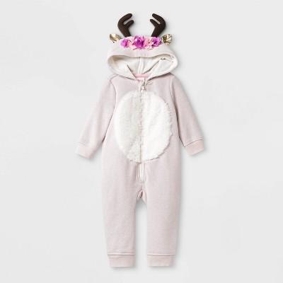 Baby Girls' Floral Reindeer Hooded Romper   Cat & Jack™ Light Pink by Cat & Jack