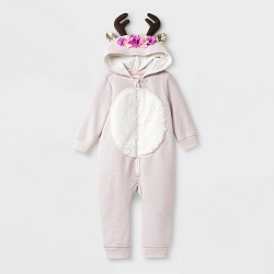 Baby Girls' Floral Reindeer Hooded Romper - Cat & Jack™ Light Pink