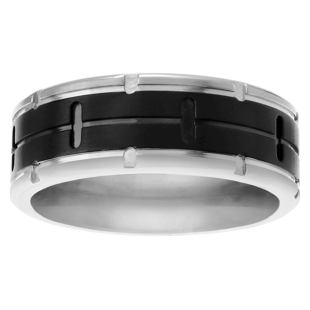 Men's Territory Grooved Center Notched Edge Band in Titanium - Black/Silver, 13 (8.05mm)