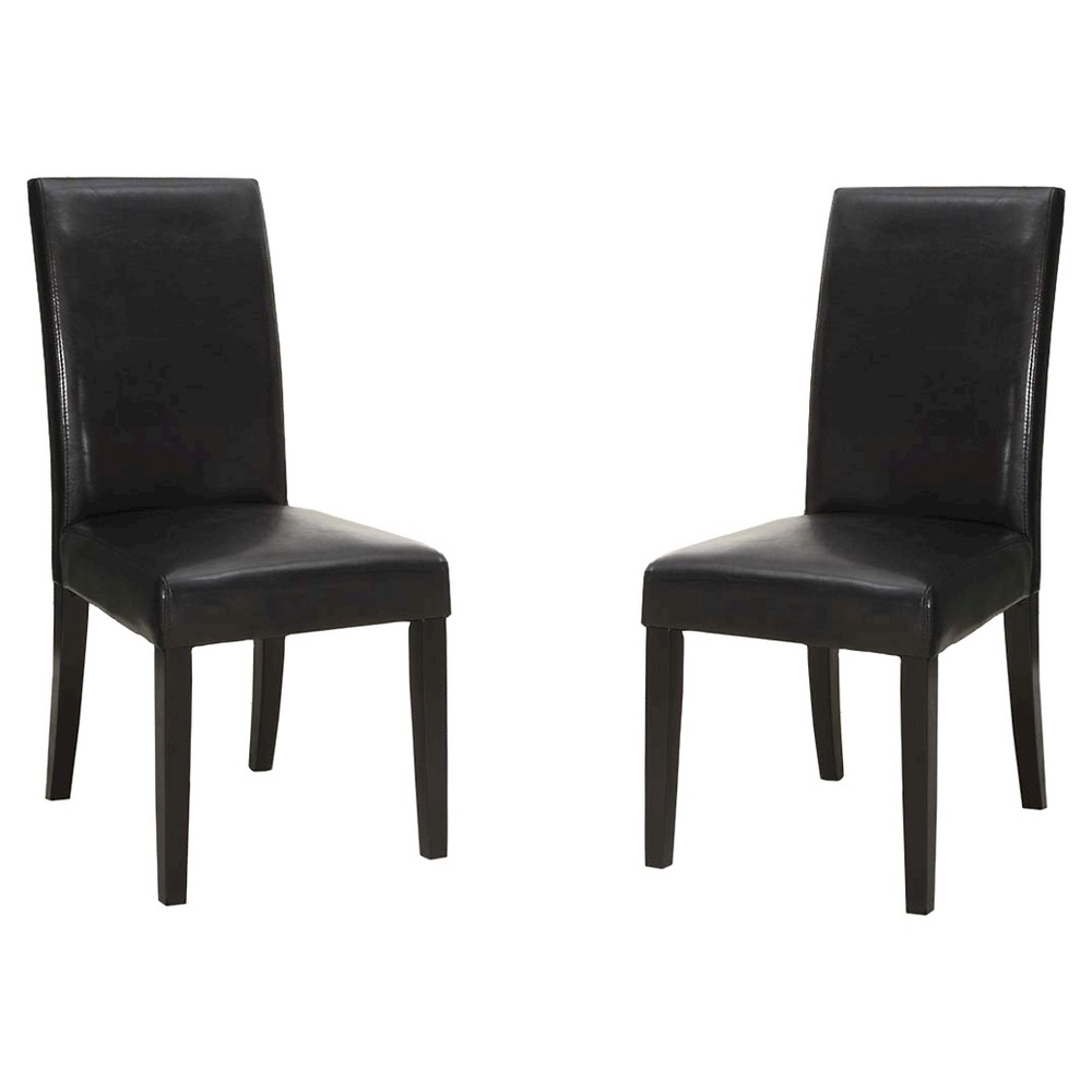 Black Bonded Leather Side Dining Chair - Black (Set of 2) - Armen Living