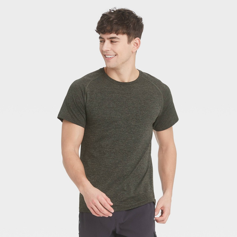 Men 39 S Short Sleeve Seamless T Shirt All In Motion 8482 Olive Green Heather Xl