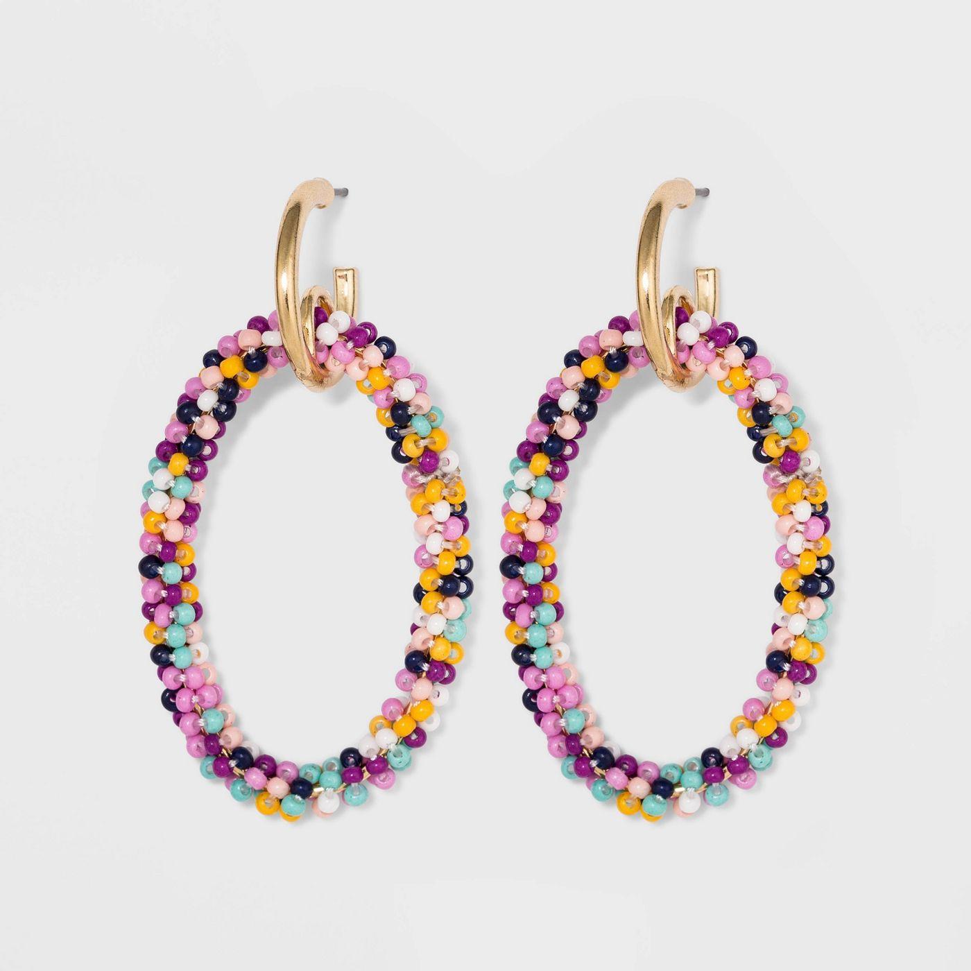 SUGARFIX by BaubleBar Seed Beaded Hoop Earrings - image 1 of 8
