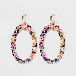 SUGARFIX by BaubleBar Seed Beaded Hoop Earrings