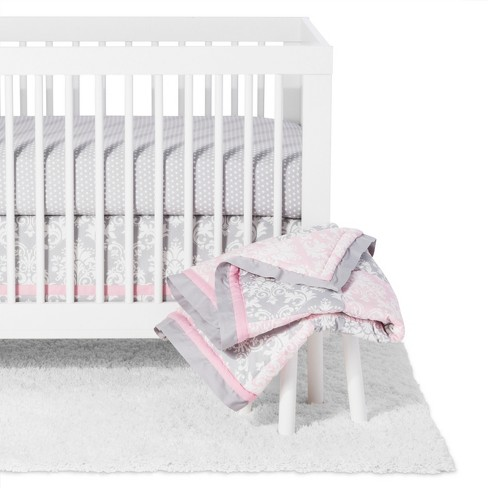 The Peanutshell Crib Bedding Set Damask Delight Patchwork 5pc Pink Gray