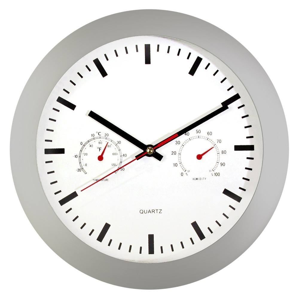 Gauges 12 Wall Clock Gray/White - TimeKeeper