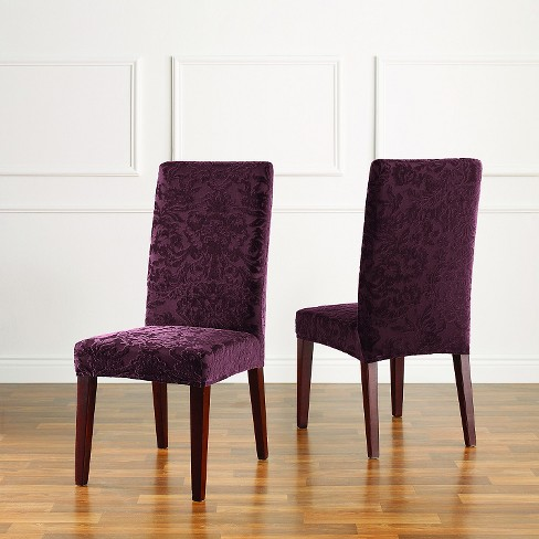 Stretch Jacquard Damask Short Dining Room Chair Cover Raisin Sure