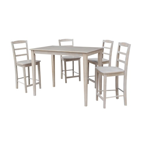 """Solid Wood 30"""" X 48"""" Counter Height Table and 4 Madrid Stools Washed Gray Taupe (5pc Set) - International Concepts - image 1 of 4"""