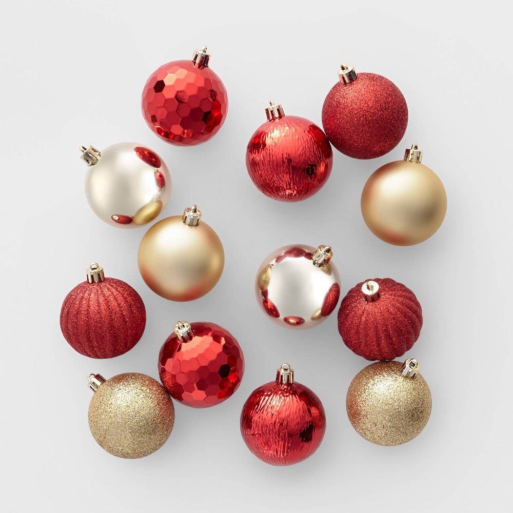 Image of 100ct Christmas Ornament Set Red and Gold - Wondershop , Gold Red