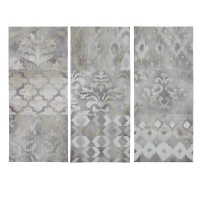 "(Set of 3) 15"" x 35"" Watercolor Ikat Taupe Gel Coat Canvas Natural"