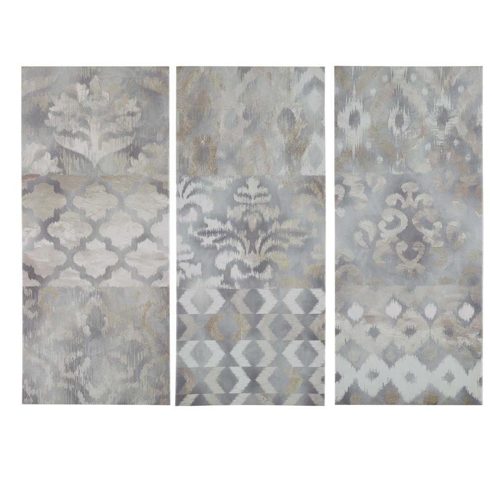Set Of 3 15 34 X 35 34 Watercolor Ikat Taupe Gel Coat Canvas Natural