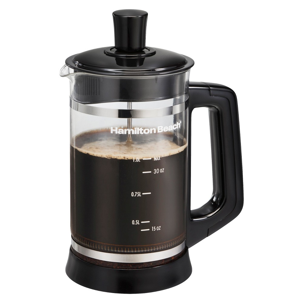 Hamilton Beach French Press Coffee Maker with Hot Chocolate Attachment- 40400, Black 15066825