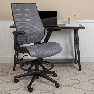 Emma and Oliver High Back Mesh Ergonomic Drafting Chair with Adjustable Flip-Up Arms