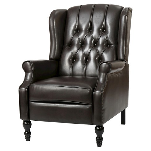 Walter Brown Bonded Leather Recliner Club Chair - Christopher Knight Home - image 1 of 4