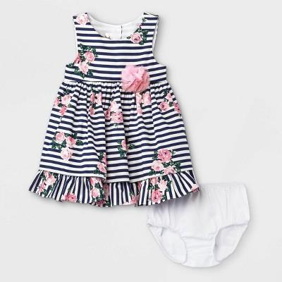Mia & Mimi Baby Girls' Floral Striped Dress - Navy