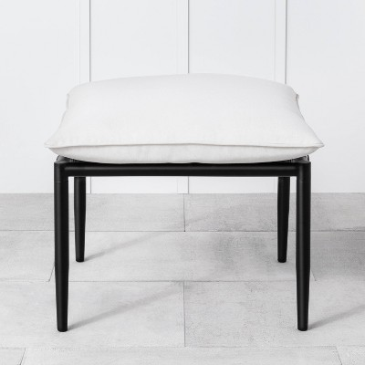 Outdoor Patio Ottoman with Cream Cushions - Hearth & Hand with Magnolia Furniture