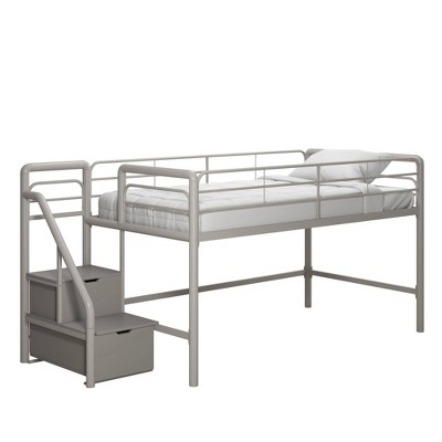 Twin Jamie Junior Loft Bed with Storage Steps Silver/Gray - Room & Joy