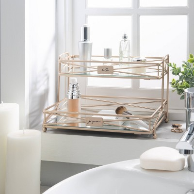 Two Tier Large Vanity Tower Rose Gold - Bath Bliss
