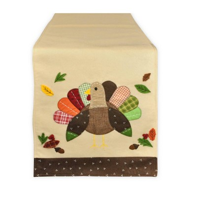 """14""""x64"""" Embroidered Turkey Table Runner - Design Imports"""