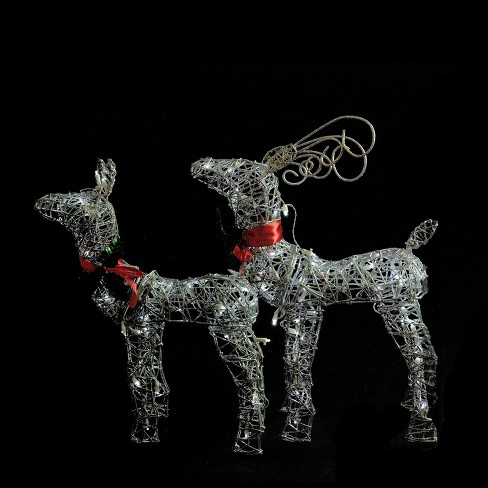 Brite Star Set Of 2 LED Lighted Silver Glitter Buck And Doe Reindeer Christmas Outdoor Decorations : Target
