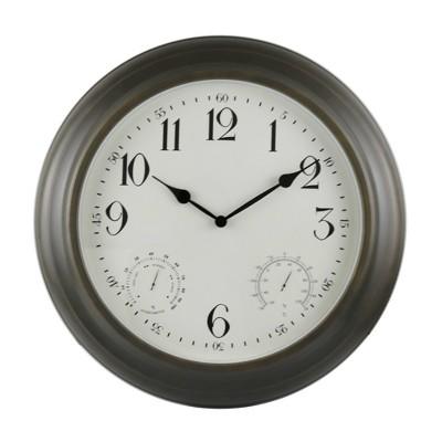 """18"""" Indoor/Outdoor Bronze Metal Weather Wall Clock - Backyard Expressions"""
