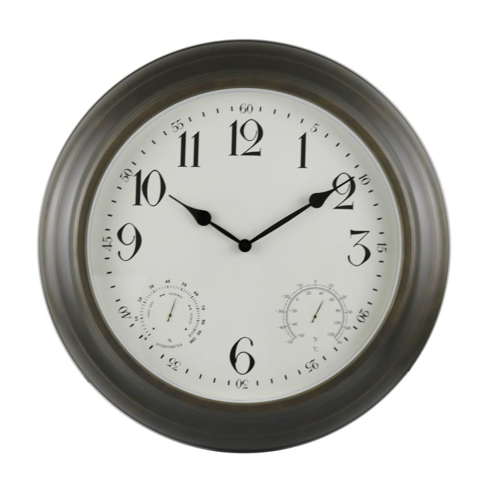 """Image of """"18"""""""" Indoor/Outdoor Bronze Metal Weather Wall Clock - Backyard Expressions, Brown"""""""