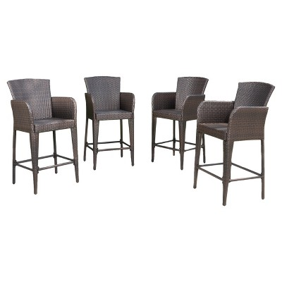 Anaya 4pk All-Weather Wicker Patio Barstool - Brown - Christopher Knight Home