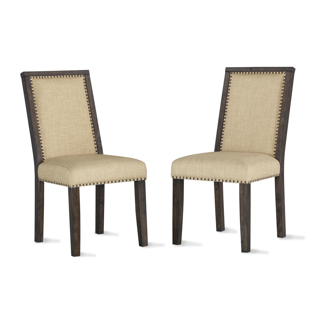 Image of 2pk Delgado Dining Chair with Nail Heads Beige - Dorel Living