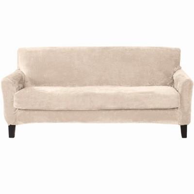 Great Bay Home 2 Piece Velvet Plush Stretch Sofa Slipcover