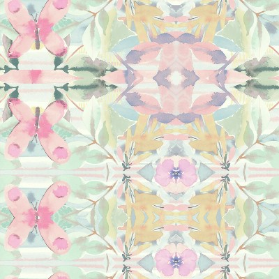 RoomMates Synchronized Floral Peel & Stick Wallpaper Pink