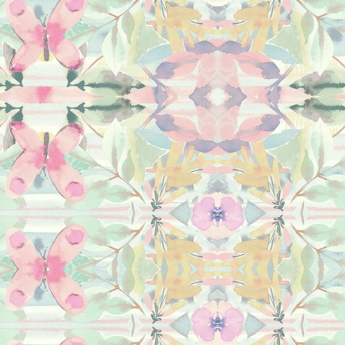 RoomMates Synchronized Floral Peel & Stick Wallpaper Pink - image 1 of 4
