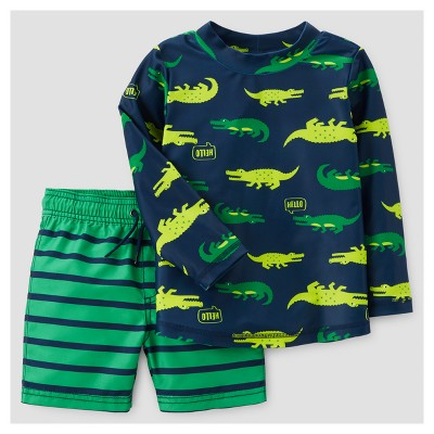 Toddler Boys' Crocodile Rash Guard Set - Just One You™ Made by Carter's™ Green 3T